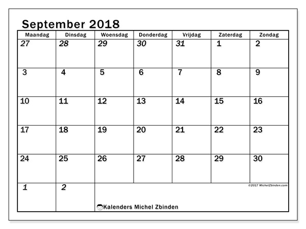 Kalender september 2018, Julius