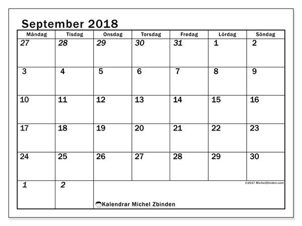 Kalender september 2018, Julius