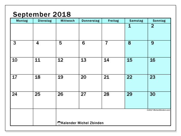 Kalender September 2018, Laurentia