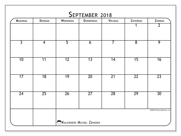 Kalender september 2018 - Marius (nl)