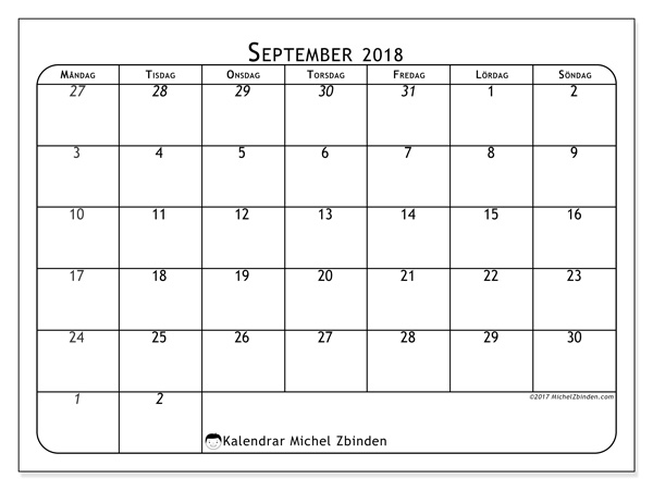 Kalender september 2018, Maximus
