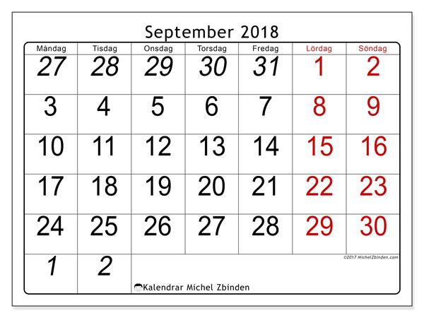 Kalender september 2018, Oseus