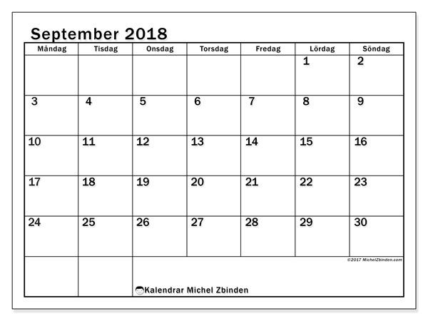 Kalender september 2018, Tiberius