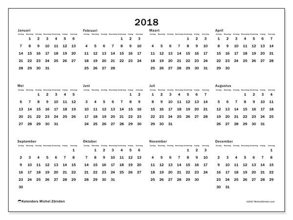 Kalender 2018 (32ZZ). Jaarkalender om gratis te printen.