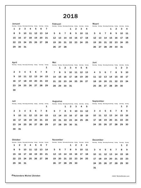 Kalender 2018 (33MZ). Kalender om gratis te printen.