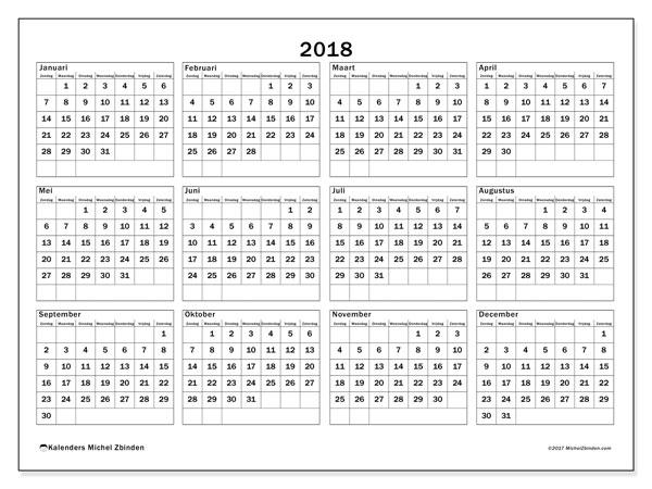Kalender 2018 (34ZZ). Gratis afdrukbare kalender.