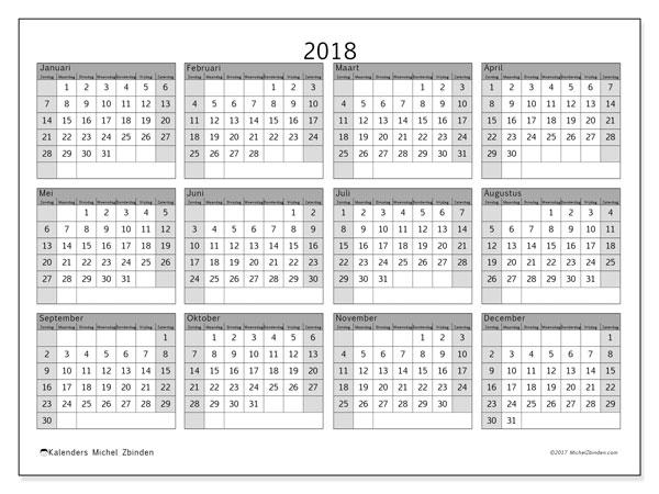 Kalender 2018 (35ZZ). Jaarkalender om gratis te printen.