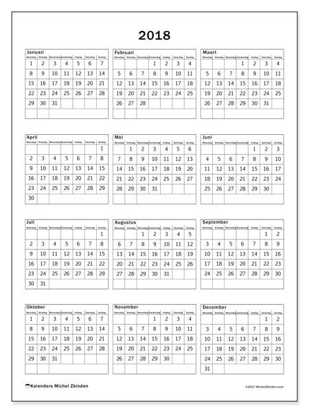 Kalender 2018 (36MZ). Kalender voor het jaar gratis afdrukken.