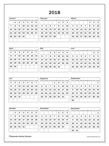 Kalender 2018 (36ZZ). Gratis kalender om af te drukken.