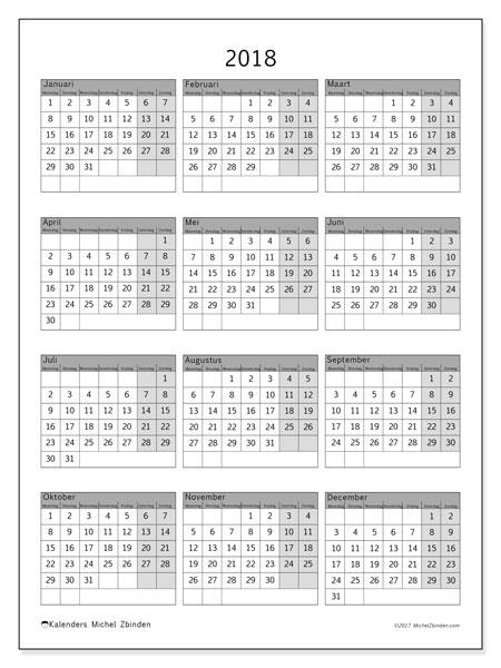 Kalender 2018 (37MZ). Kalender om gratis te printen.