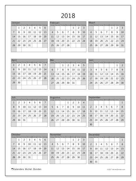 Kalender 2018 (37ZZ). Kalender voor het jaar gratis afdrukken.