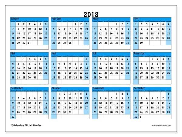 Kalender 2018 (39ZZ). Jaarkalender om gratis te printen.