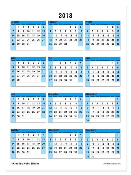 Kalender 2018 (40ZZ). Jaarkalender om gratis te printen.