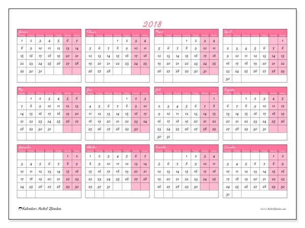 Kalender 2018 (41MZ). Jaarkalender om gratis te printen.