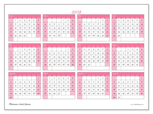 Kalender 2018 (41ZZ). Kalender om gratis af te drukken.