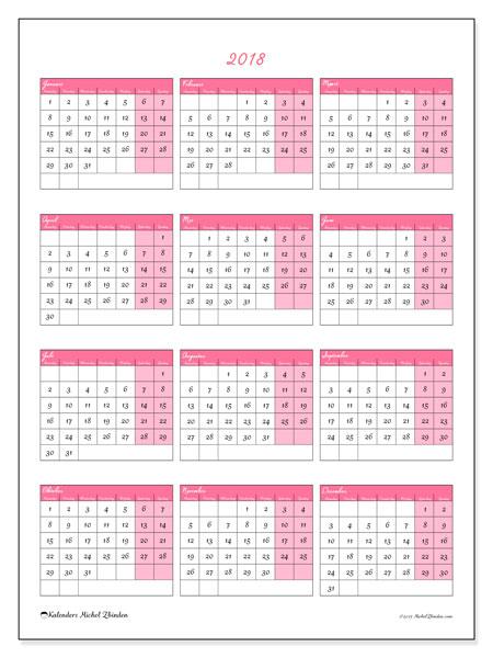 Kalender 2018 (42MZ). Gratis printbare kalender.