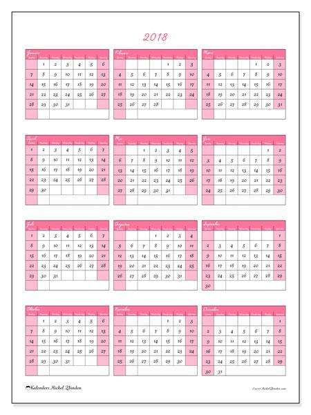 Kalender 2018 (42ZZ). Gratis printbare kalender.