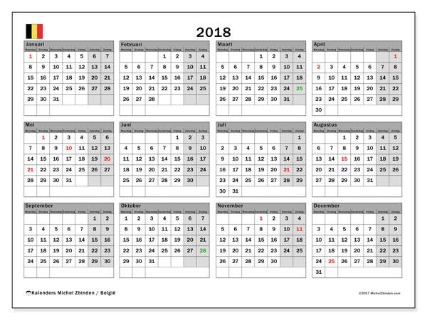 Kalender 2018 met de feestdagen van België. Schema om gratis te printen.