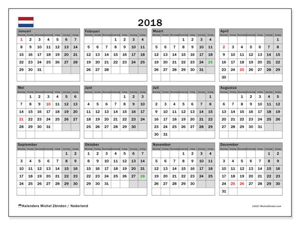 Kalender 2018 met de feestdagen van Nederland. Agenda om gratis te printen.