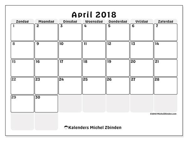 Kalender april 2018 (44ZZ). Kalender voor de maand die gratis moet worden afgedrukt.