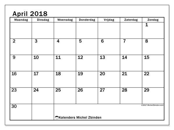 Kalender april 2018 (50MZ). Gratis afdrukbare kalender.