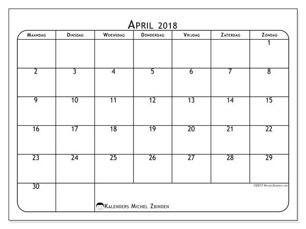 Kalender april 2018 (51MZ). Kalender om gratis te printen.