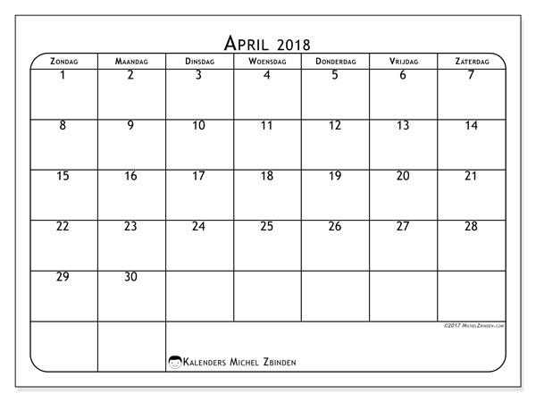 Kalender april 2018 (51ZZ). Kalender om gratis te printen.