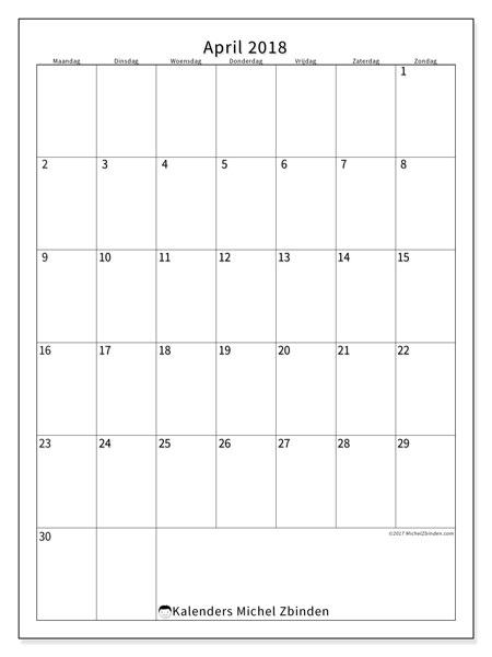 Kalender april 2018 (52MZ). Maandkalender om gratis te printen.