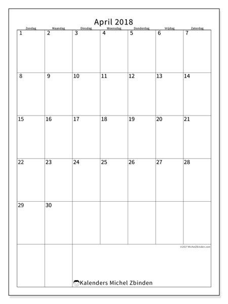 Kalender april 2018 (52ZZ). Maandkalender om gratis te printen.