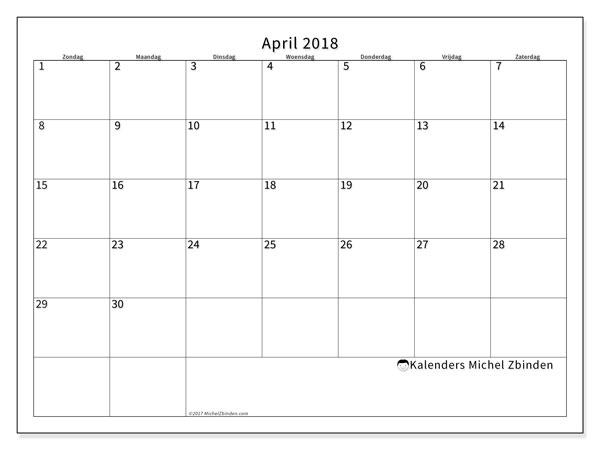 Kalender april 2018 (53ZZ). Kalender voor de maand die gratis moet worden afgedrukt.
