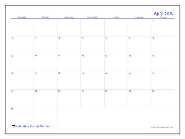 Kalender april 2018 (55MZ). Schema om gratis te printen.
