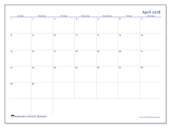 Kalender april 2018 (55ZZ). Gratis afdrukbare kalender.