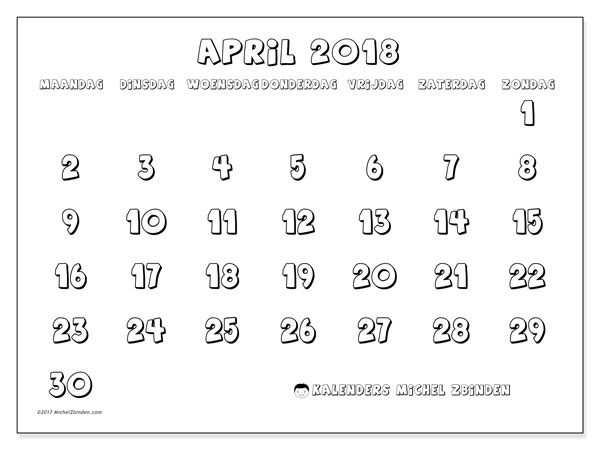 Kalender april 2018 (56MZ). Gratis afdrukbare kalender.