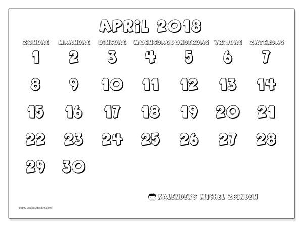 Kalender april 2018 (56ZZ). Kalender voor de maand die gratis moet worden afgedrukt.