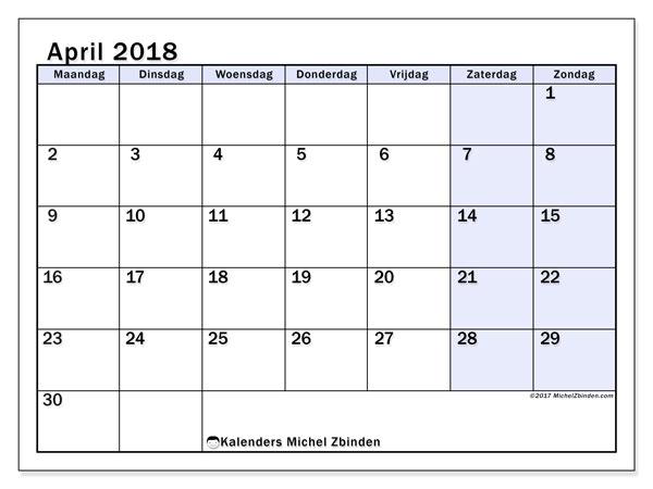 Kalender april 2018 (57MZ). Schema om gratis te printen.