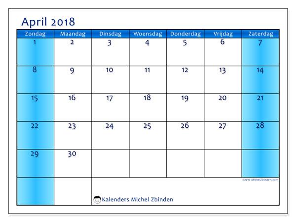 Kalender april 2018 (58ZZ). Gratis printbare kalender.