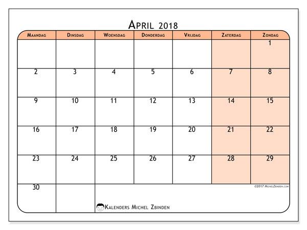 Kalender april 2018 (61MZ). Kalender voor de maand die gratis moet worden afgedrukt.