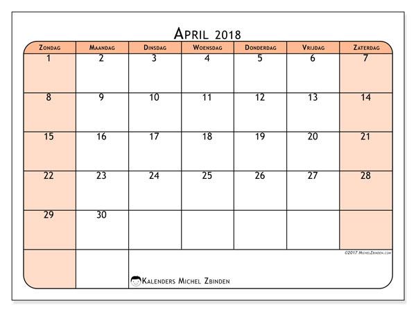 Kalender april 2018 (61ZZ). Maandkalender om gratis te printen.