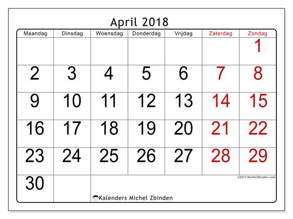 Kalender april 2018 (62MZ). Gratis afdrukbare kalender.