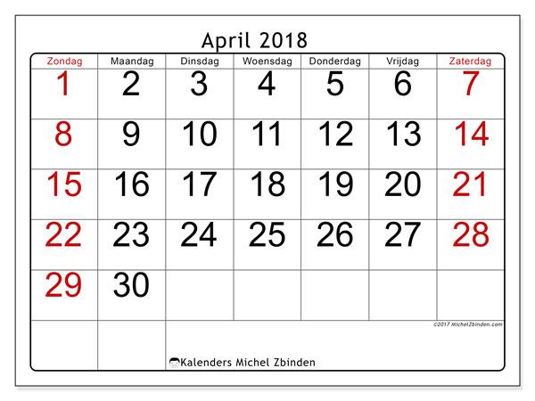 Kalender april 2018 (62ZZ). Kalender om gratis af te drukken.