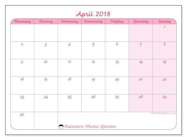 Kalender april 2018 (63MZ). Gratis afdrukbare kalender.