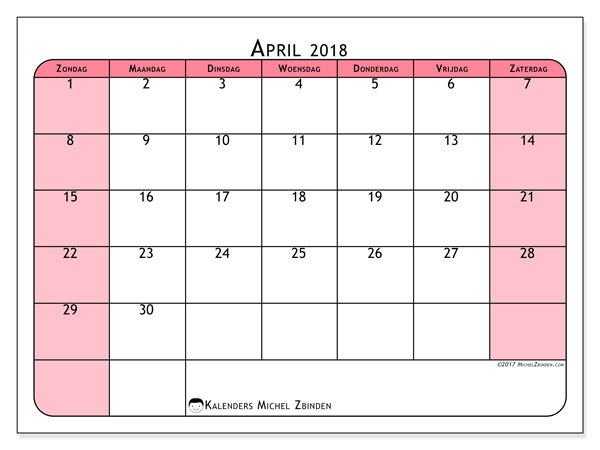 Kalender april 2018 (64ZZ). Maandkalender om gratis te printen.