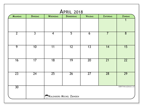 Kalender april 2018 (65MZ). Schema om gratis te printen.