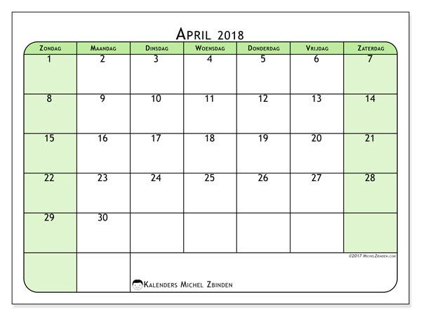 Kalender april 2018 (65ZZ). Gratis kalender om af te drukken.