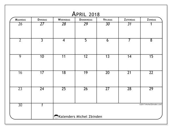 Kalender april 2018 (67MZ). Gratis afdrukbare kalender.
