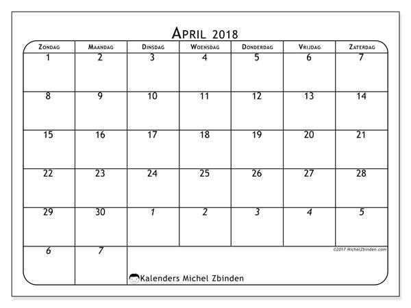 Kalender april 2018 (67ZZ). Gratis kalender om af te drukken.