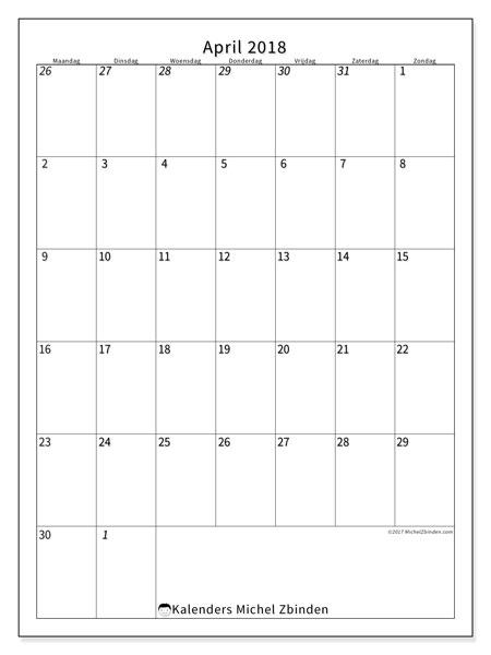 Kalender april 2018 (68MZ). Agenda om gratis te printen.
