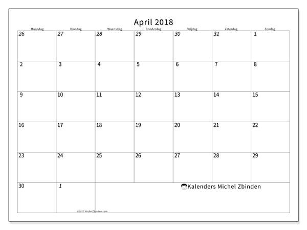 Kalender april 2018 (70MZ). Kalender voor de maand die gratis moet worden afgedrukt.