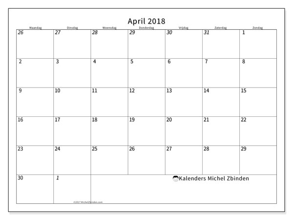 Kalender april 2018 (70MZ). Gratis printbare kalender.