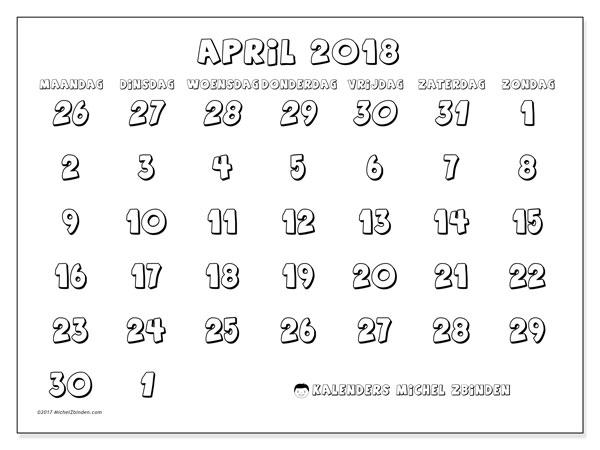 Kalender april 2018 (71MZ). Kalender om gratis af te drukken.